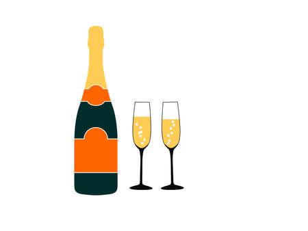 Champagne bottle icon illustration design