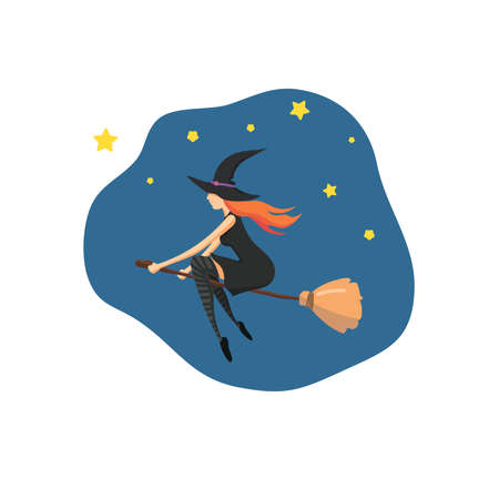 The witch, a young woman with red hair, is flying on a broomstick. Flight of the witch against the background of the night sky. Vector illustration of a modern flat design.