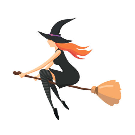 The witch, a young woman with red hair, is flying on a broomstick. Flying witch on a white background. Vector illustration of a modern flat design.