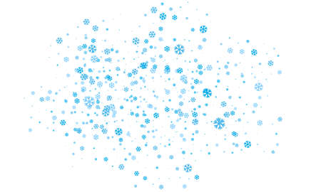 Snowflakes of different sizes and different transparency are randomly scattered over a transparent background.
