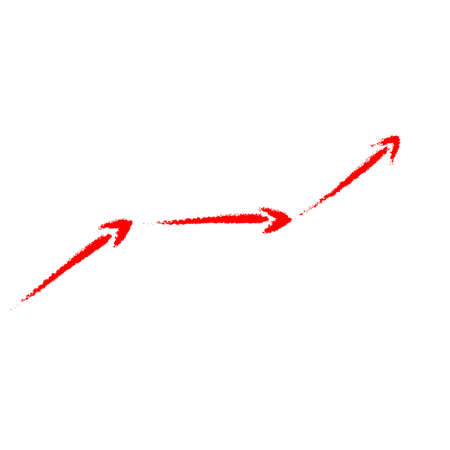 The red curved arrow is drawn by hand. Imitation of paint brush strokes. Vector illustration