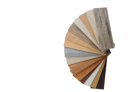 wood texture floor :oak tile, maple tile, chestnut tile, walnut tile, balsam tile,   Samples of laminate and vinyl floor tile on wooden Background Stock Photo