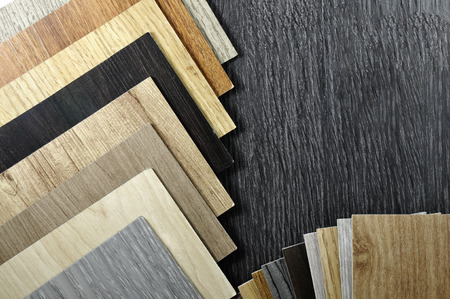 Material design. Laminate, parquet, vinyl, wooden texture floor materials. Material of wooden patten design . Interior design made home decoration. Sample laminate of wooden background. Imagens - 75169207