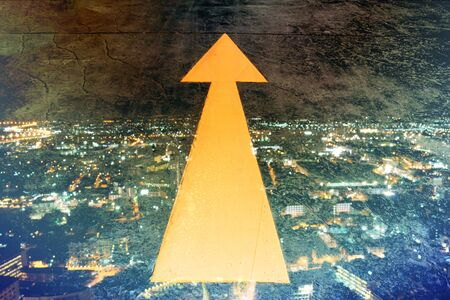 opportunity sign: Abstract Light with Arrow direction to goal, success  Direction Arroww with night city background. Stock Photo