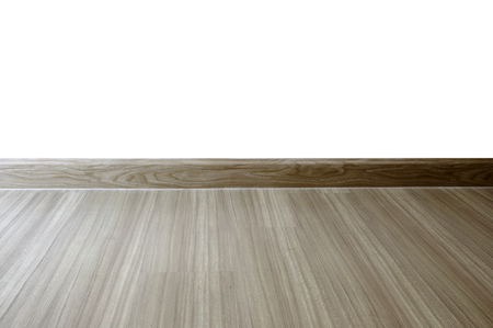 white wood floor: empty room interior, oak wood laminate floor and  white wall background. Parquet, vinyl flooring, Wooden Floor Stock Photo