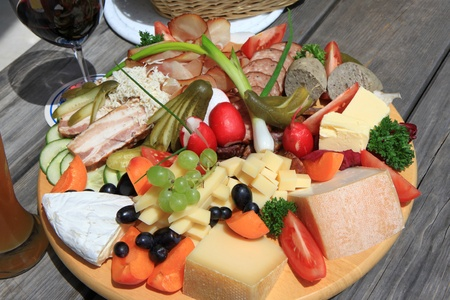 Austrian Cold cuts and cheese platter (Jausen PlatteBrotzeit Platte) photo