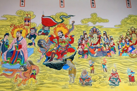 A beautiful painting about Chinese god on a temple wall, Thailand