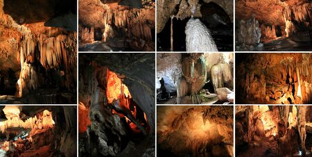 limestone caves: A collage photo of Lawa Caves in Kanchanaburi, Thailand