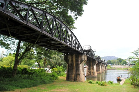 railway history: The River Kwai Bridge over the Kwai River, Kanchanaburi, Thailand