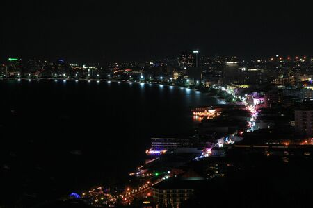 pattaya thailand: Bird View of Pattaya Bay and walking street at night, Thailand