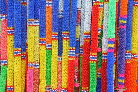 Colorful Thai plastic garland, can be found at any Buddhist Temple photo