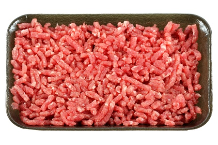 Ground lean beef, Raw minced meat, isolated on white background.  photo