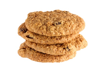 oatmeal cookie: Closeup photo of a stack of freshly baked Oatmeal raisin cookies