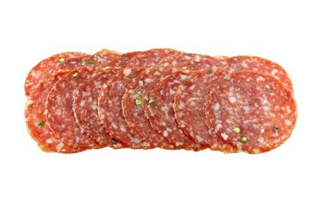 Closeup photo of fresh spicy Pepper Salami  Pepperoni photo