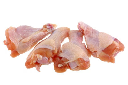 raw chicken: Raw and fresh Chicken wings isolated on white background