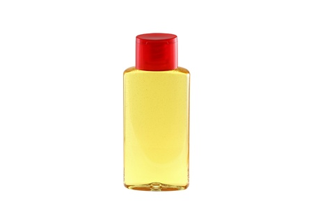 A bottle of Shower Oil for dry skin, isolated on white, with bubbles inside Stock Photo - 11717381