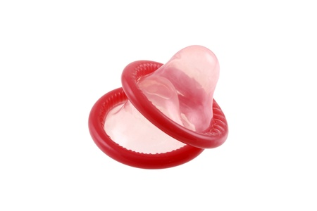 Common myths, condom mistake : double condom (Two condoms) isolated on white Stock Photo - 11717380