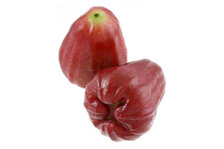 Closeup photo of sweet ripe Rose Apple, Water Apple (Chomphu) isolated on white photo