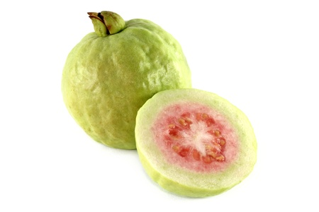 guava: Closeup tropical fruit photo : Fresh Pink Apple Guava cut in half isolated on white