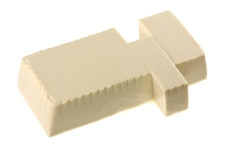tofu: Closeup photo of fresh Japanese Momen (cotton) tofu, isolated on white
