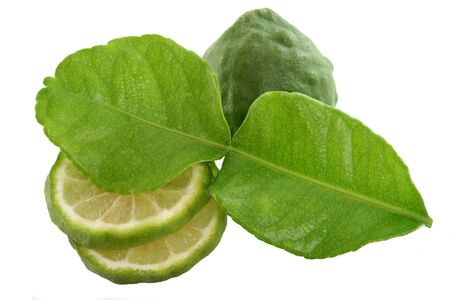 Garden picked Kaffir lime for Asian dish, isolated on white photo