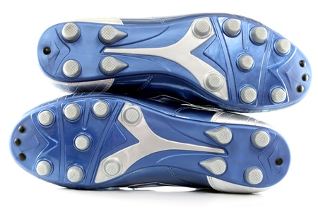 soccer cleats: Blue Soccer (football) bootsshoes with 12 studs, isolated on white