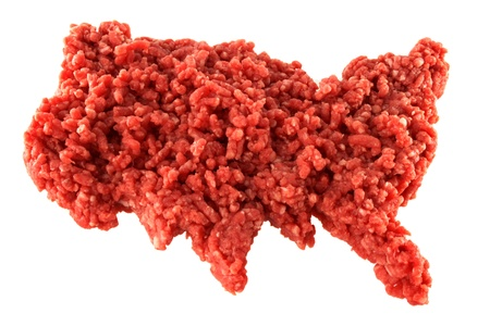 Ground lean beef, Raw minced meat in the shape of U.S.A on white