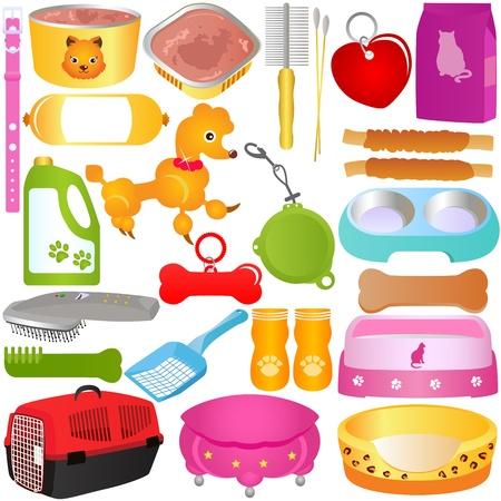 transporteur: Un ensemble color� de chats ou chiens, aliments et accessoires, isol� sur fond blanc