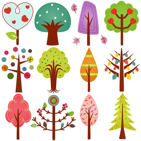 illustrator: A cute collection of sweet Retro Trees, Seamless background isolated on white