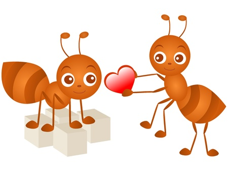 A colorful Theme of cute Icons : Ant in love