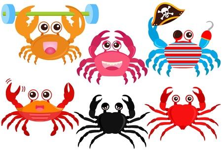 cangrejo caricatura: Un conjunto de colores de los iconos de animales lindos: lindos coloridos cangrejos Vectores