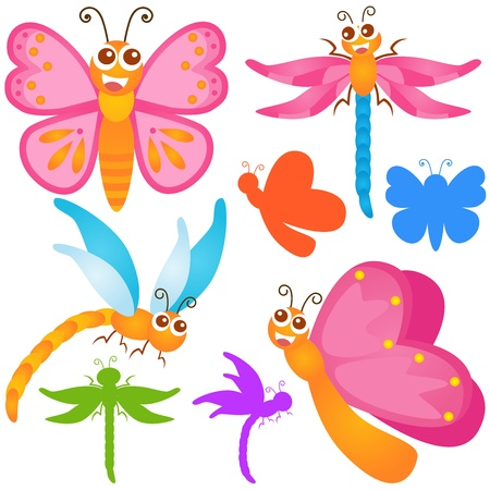A colorful Theme of cute Icons : Butterfly, dragonfly  Vector