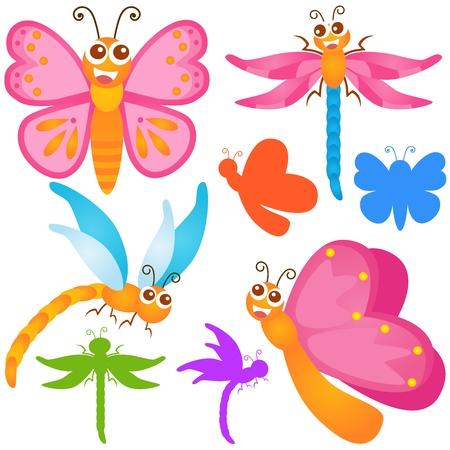 Een kleurrijke thema van leuke Icons: Butterfly, libel