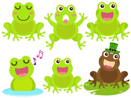 lily flowers collection: A colorful Theme of cute Icons : Frog in the pond