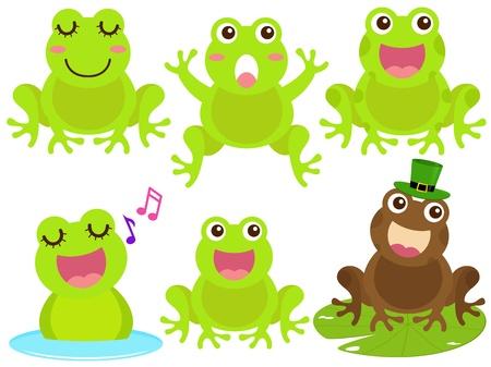 rana caricatura: Un tema de iconos de colores lindos: la rana en el estanque