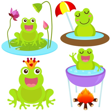 A colorful Theme of cute Icons : Frog in the pond  Vector