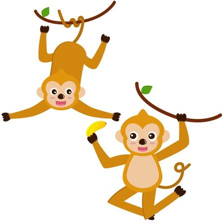 platano caricatura: Un conjunto de colores de los iconos de animales lindos: Hanging Monkey Vectores
