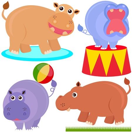 A colorful set of cute Animal Icons : hippopotamus (hippo)  Vector