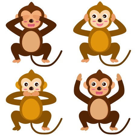 A colorful set of cute Animal Icons : Monkey - See Hear Speak No Evil  Vector