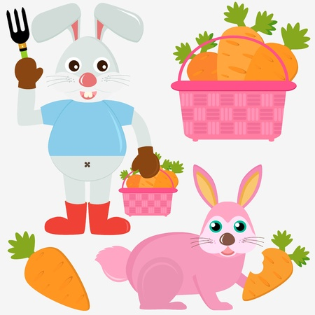 A colorful set of cute Animal Icons : Rabbit Bunny with Easter Eggs Stock Vector - 12119531