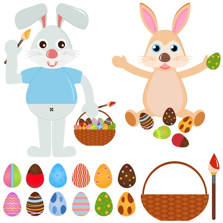 A colorful set of cute Animal Icons : Rabbit Bunny with Easter Eggs Stock Vector - 12119532