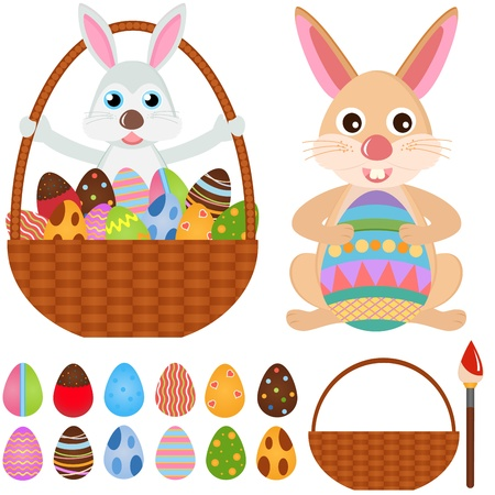 A colorful set of cute Animal Icons : Rabbit Bunny with Easter Eggs Stock Vector - 12119533