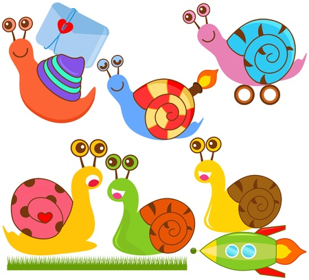 A colorful and cute collection of Snails isolated on white Stock Vector - 12119563