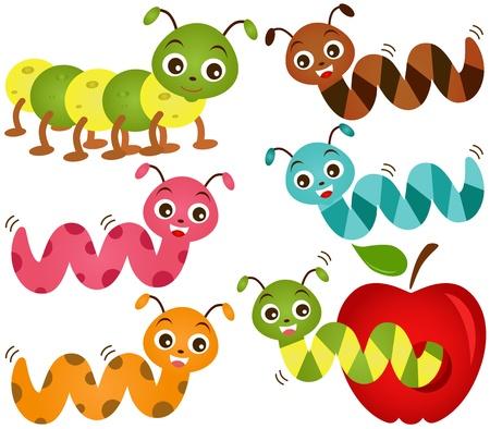 gusano caricatura: Un tema de iconos de colores lindos: Worms y, Apple Vectores