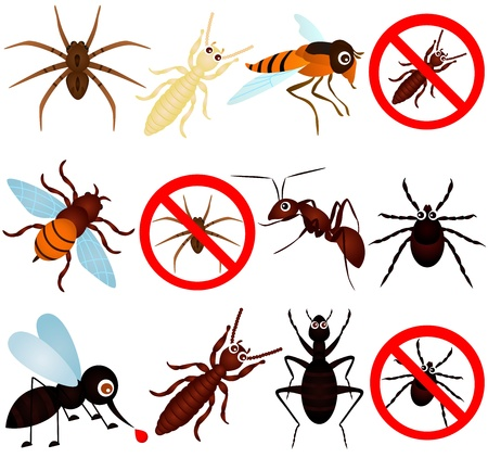 cartoon tick: A collection of bugs (mosquito, termite, ant, etc)