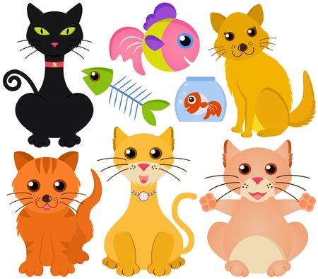 gato caricatura: Una colecci�n colorida y linda del gato y los peces aislados en blanco Vectores