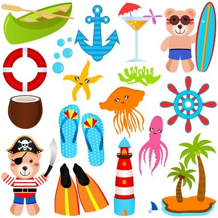algas marinas: Un conjunto de colores de los iconos lindos del oso: Tema del verano, aislado en blanco