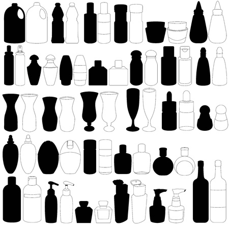 pulverizador: Un conjunto silueta de la botella, el perfume, vidrio, envases