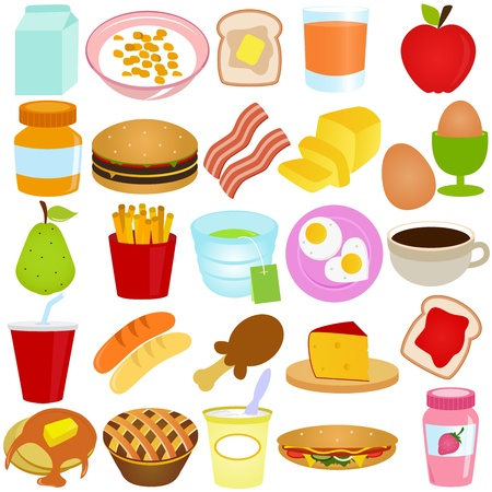 A collection of Breakfast  Lunch set isolated on white  Vector