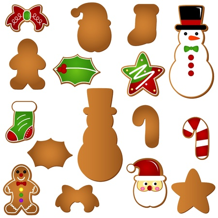 A colorful set of Icons : Gingerbread (Christmas festival biscuit - cookie)  Vector